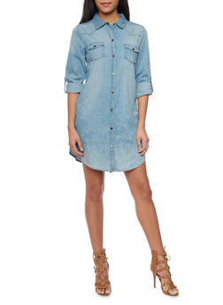 Cloud Wash Chambray Button Front Shirt Dress - 1090051063283