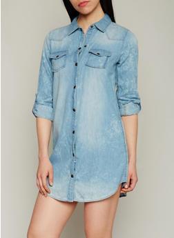 Cloud Wash Chambray Button Front Shirt Dress - 1090051063283