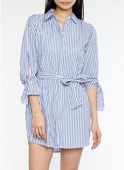 Striped Open Tie Sleeve Shirt Dress - 1090051063367