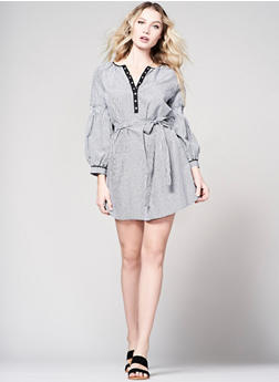 Gingham Smocked Sleeve Shift Dress - 1090051063368