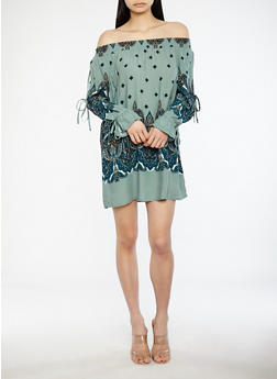 Open Sleeve Paisley Print Off the Shoulder Dress - 1090051063572