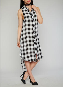 Sleeveless Plaid Button Front Maxi Shirt Dress with Side Slits - 1090051063722