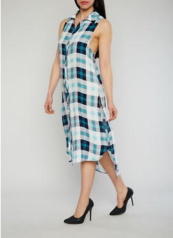 Sleeveless Plaid Button Front Maxi Shirt Dress with Side Slits - TEAL - 1090051063722