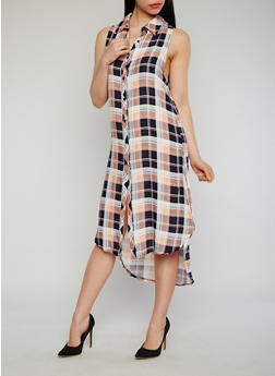 Sleeveless Plaid Button Front Maxi Shirt Dress with Side Slits - NAVY - 1090051063722
