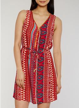 Sleeveless Printed Zip Front Dress with Waist Tie - RUST - 1090051063971