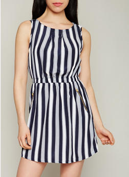 Sleeveless Striped Dress with Cinched Waist - 1090051064035