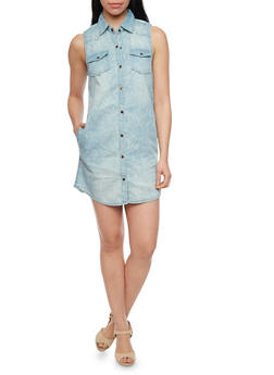 Sleeveless Cloud Wash Button Down Denim Shirt Dress - MEDIUM WASH - 1090051064066