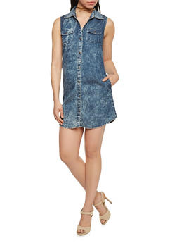 Sleeveless Cloud Wash Button Down Denim Shirt Dress - DARK WASH - 1090051064066