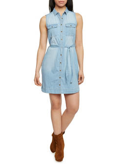 Sleeveless Denim Button Up Shirt Dress with Sash Tie Belt - 1090051064069
