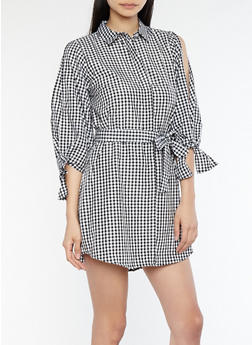 Gingham Open Tie Sleeve Shirt Dress - 1090051064367