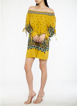 Border Print Off the Shoulder Dress - 1090051064572