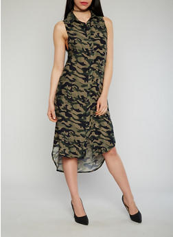 Button Front Printed High Low Shirt Dress - CAMOUFLAGE - 1090051064722