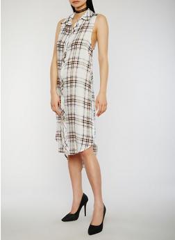 Sleeveless Plaid Button Front Maxi Shirt Dress - 1090051065722