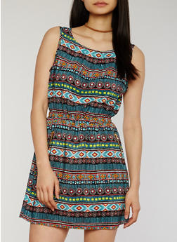Printed Sleeveless Cinched Waist Dress - BLACK - 1090051066035