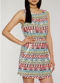 Printed Sleeveless Cinched Waist Dress - WHITE - 1090051066035