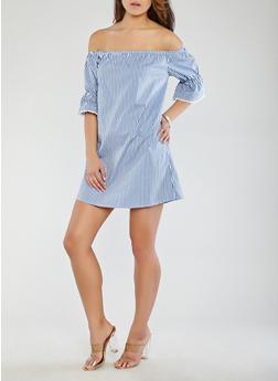 Striped Off the Shoulder Dress - 1090054260439