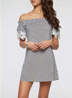 Striped Off the Shoulder Dress - BLACK/WHITE - 1090054260442