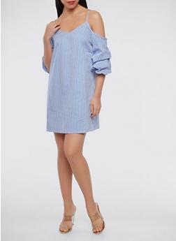 Striped Off the Shoulder Dress - 1090054260444