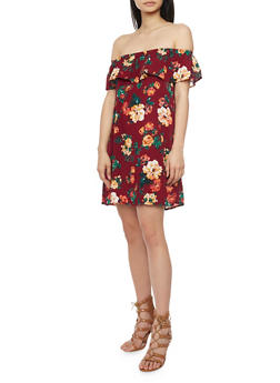 Floral Off The Shoulder Shift Dress with Ruffle Overlay - 1090054268830