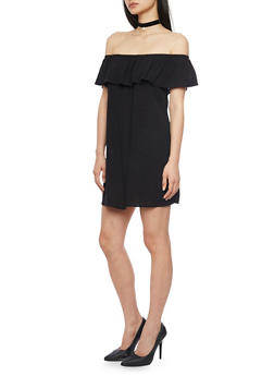 Off The Shoulder Shift Dress with Ruffle Overlay - BLACK - 1090054269437