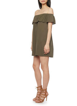Off The Shoulder Shift Dress with Ruffle Overlay - 1090054269437