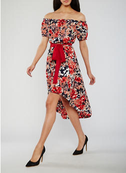 Floral Off the Shoulder High Low Dress with Sash Belt - 1090058752271