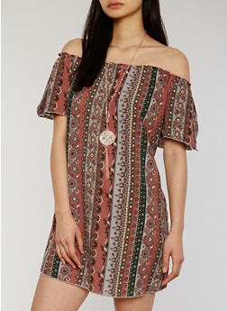 Printed Off the Shoulder Peasant Dress with Necklace - 1090058752373