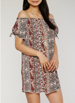 Off the Shoulder Printed Peasant Dress with Necklace - 1090058752376