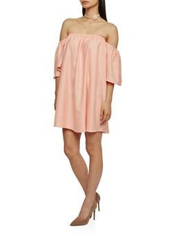 Solid Short Sleeve Off The Shoulder Shift Dress - 1090058752378