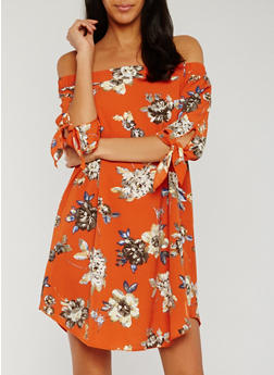 Floral Off the Shoulder Dress with Tie Sleeves - 1090058752387