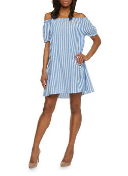 Off Shoulder Striped Peasant Dress - 1090058752389