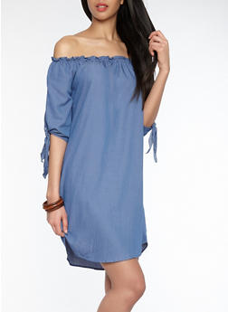 Chambray Off the Shoulder Shift Dress - 1090058752400