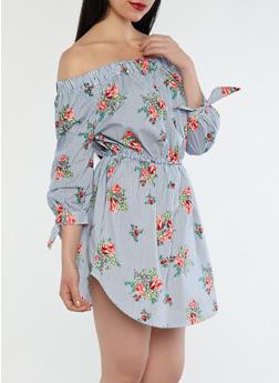 Striped Rose Off the Shoulder Dress - 1090058752403