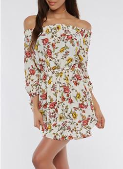 Floral Off the Shoulder Dress - 1090058752405