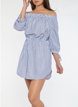 Striped Off the Shoulder Dress - 1090058752408
