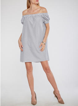 Off the Shoulder Striped Peasant Dress - 1090058752530