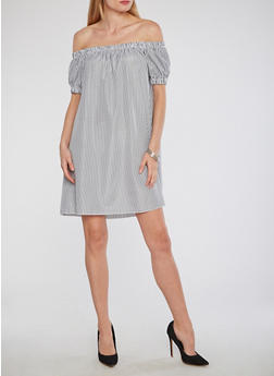 Striped Off the Shoulder Peasant Dress - 1090058752539