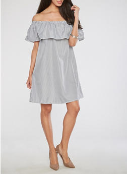 Striped Off the Shoulder Dress - 1090058752540