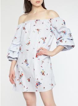 Striped Floral Off the Shoulder Dress - 1090058753400
