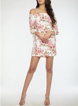 Floral Tie Sleeve Off the Shoulder Dress - 1090058753430