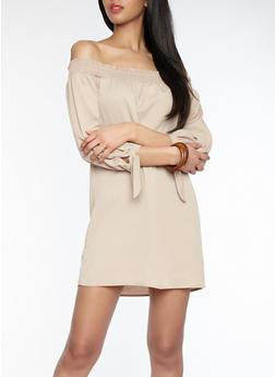 Smocked Off the Shoulder Dress - 1090058753499