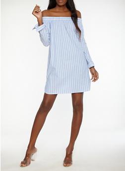 Striped Off the Shoulder Shift Dress - 1090058753500