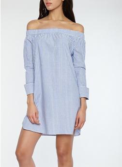 Striped Off the Shoulder Dress - 1090058753501
