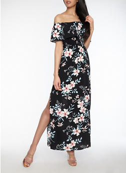 Floral Off the Shoulder Maxi Dress - 1090058753508