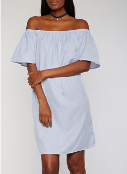 Striped Off the Shoulder Shift Dress - 1090058930129