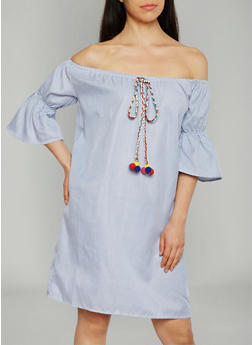 Striped Off The Shoulder Shift Dress with Pom Pom Tassel - 1090058930711