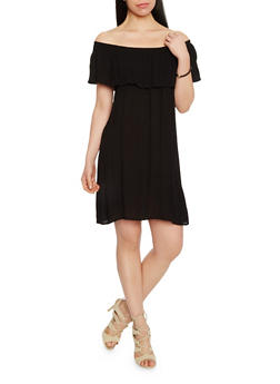 Off The Shoulder Crinkle Knit Shift Dress - 1090058931119