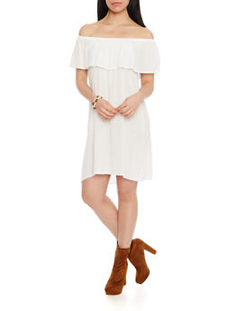 Off The Shoulder Crinkle Overlay Shift Dress - IVORY - 1090058931119