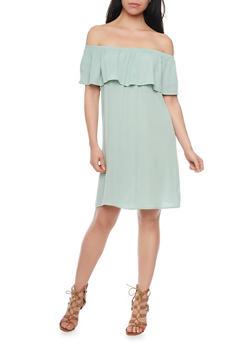 Off The Shoulder Crinkle Knit Shift Dress - 1090058931119