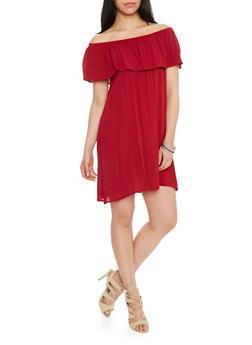 Off The Shoulder Crinkle Overlay Shift Dress - BURGUNDY - 1090058931119
